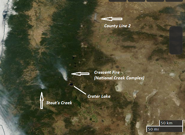 County Line 2 Fire Map.Oregon Smoke Information 8 13 2014 Oregon Smoke Plumes From Space