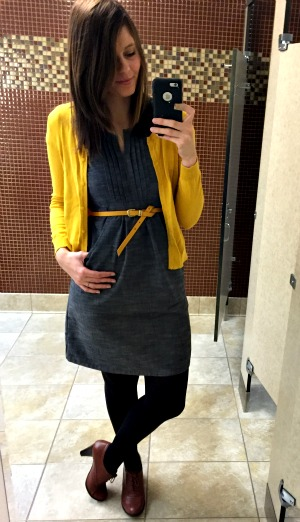 Pinspired Outfits Lately - Grey dress + mustard cardi + brown oxford heels