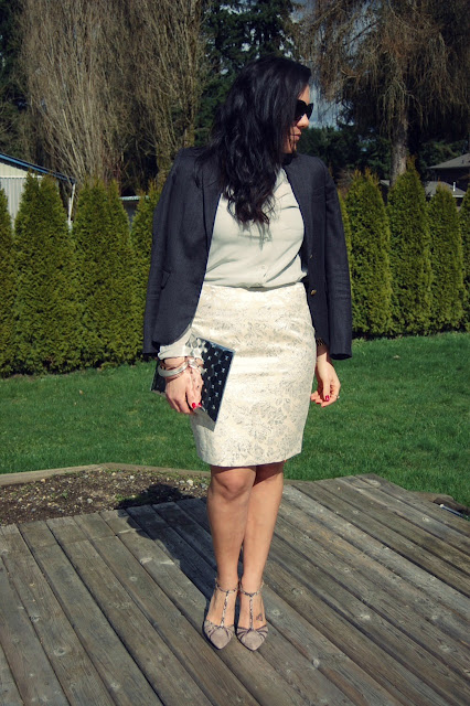 J Crew blazer, Joe Fresh blouse, Forever 21 brocade skirt, Ela clutch, Alexis Bittar bangles and Jessica Simpson heels.