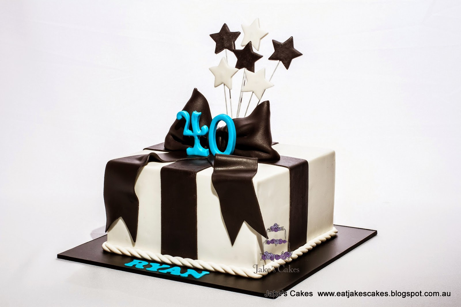 Jakes Cakes Black And White Present 40th Birthday Cake