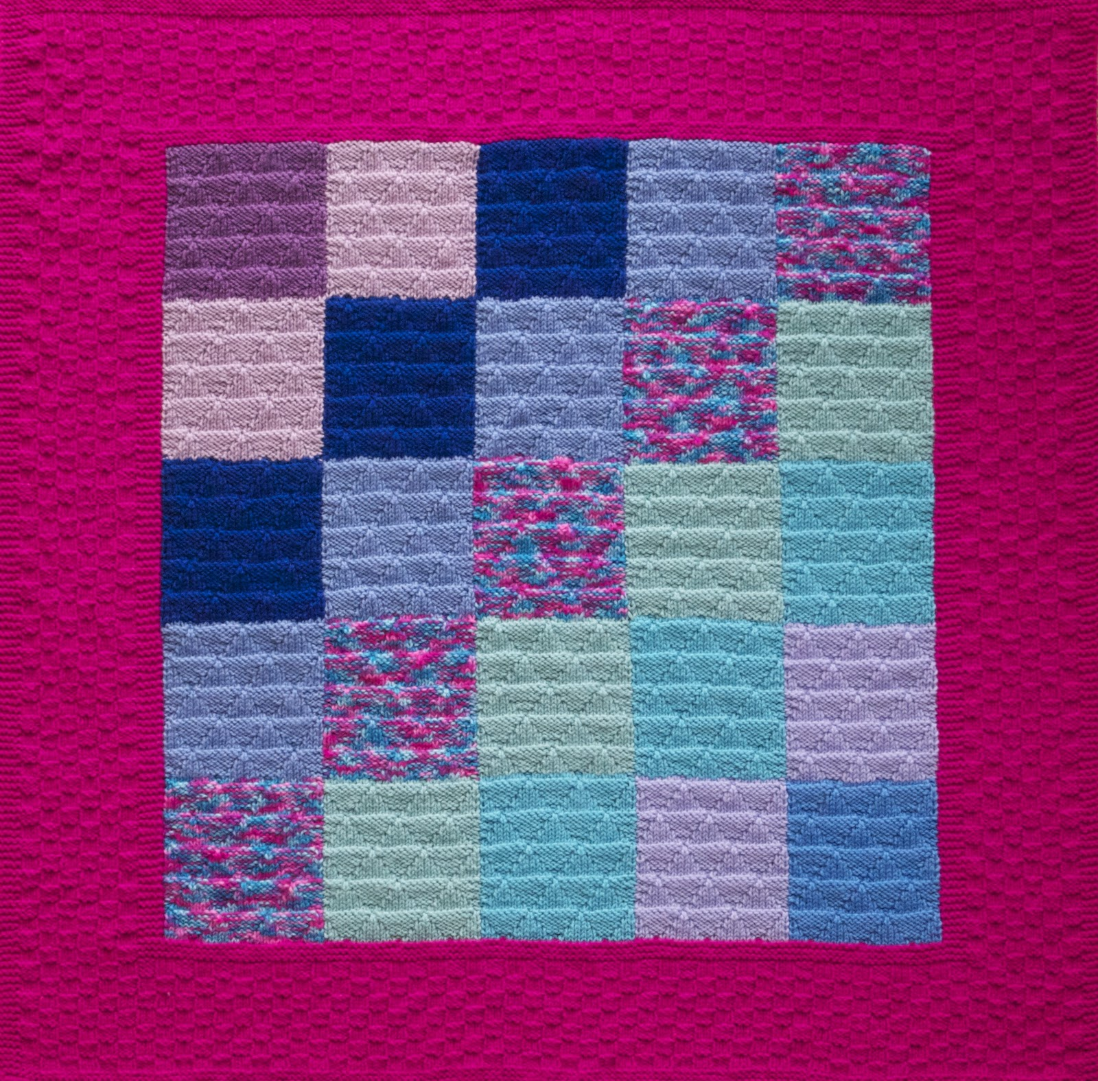Knitting Pattern Quilt : QuiltWrapUp: Hot Pink Knitted Quilt