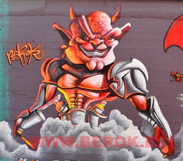 Graffiti demonio fluorescente