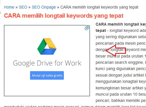 contoh iklan google adsense banner di blog