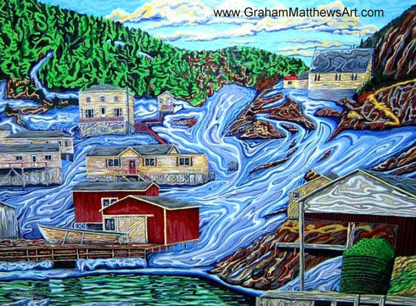 Spring in Round Harbor - Painting of a Fishing Village