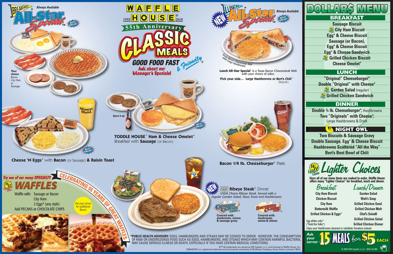 WAFFLE HOUSE DINER MENU CLICK TO ENLARGE
