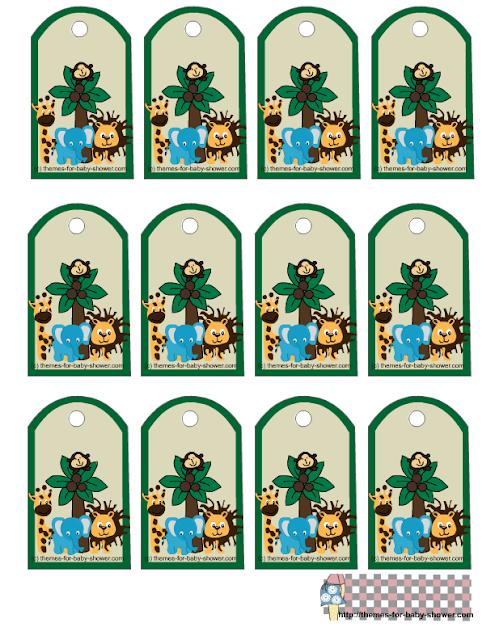 Toppers, stickers o etiquetas para Imprimir Gratis de la Selva para Baby Shower.