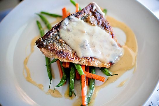 feeding andy: salmon w/ lemon cream beurre blanc & sauteed vegetables