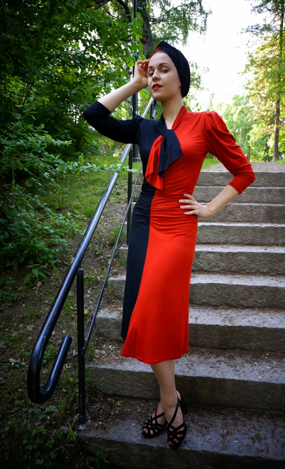 40s inspired rayon jersey dress by cherise