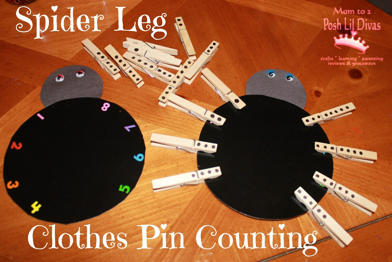 preschool spider art clothes pin spider leg counting 298