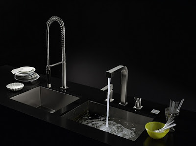 contemporary black kitchen sink with large pool