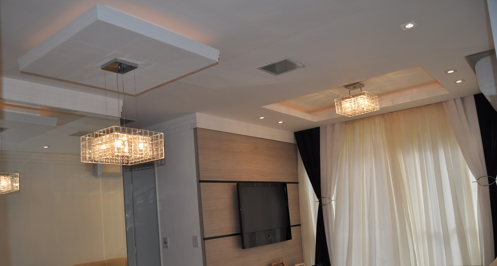 Teto Em Gesso Para Sala De Jantar ~  sala de jantar e cozinha  Apartamento de Dois Dormitórios em Bauru