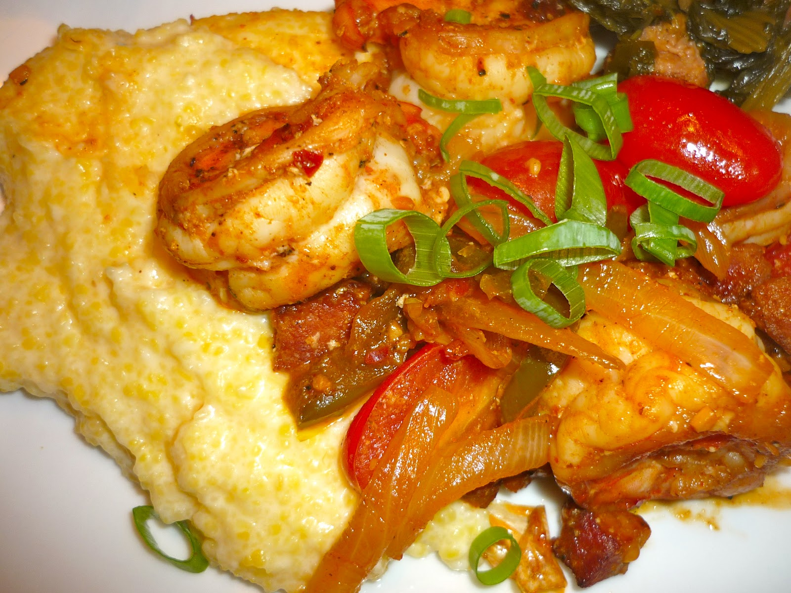 True Grits With Southwestern Shrimp Recipe — Dishmaps