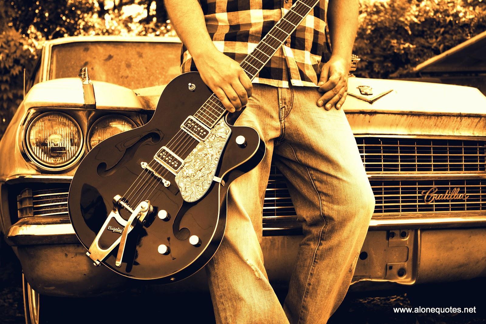 Alone Boy Wallpaper With Guitar Dark Brown Evening