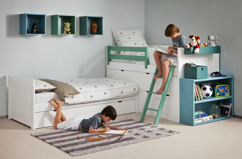 camas cruzadas blanco y verde
