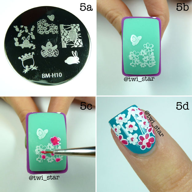 Bundle Monster Nail Stamping Plate BM-702 BM-H10 Easter Tutorial