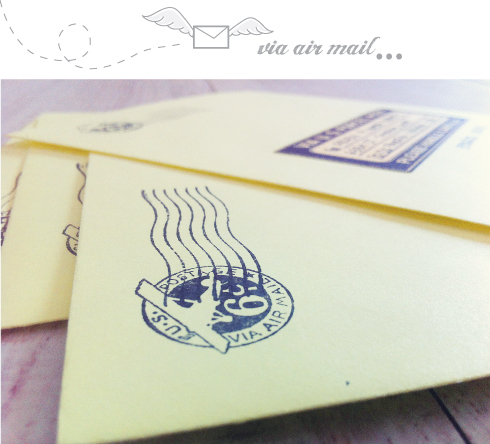 Via air mail invitaciones de boda