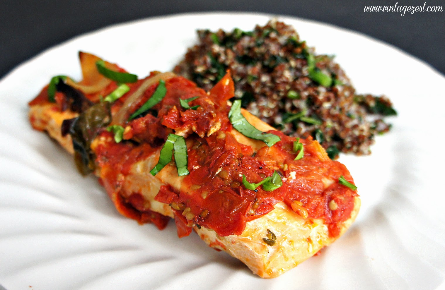 Mediterranean Salmon on Diane's Vintage Zest!  #recipe #quick #easy