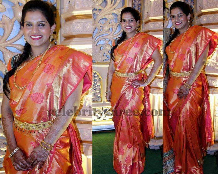 Orange and Gold Shade Bridal Saree
