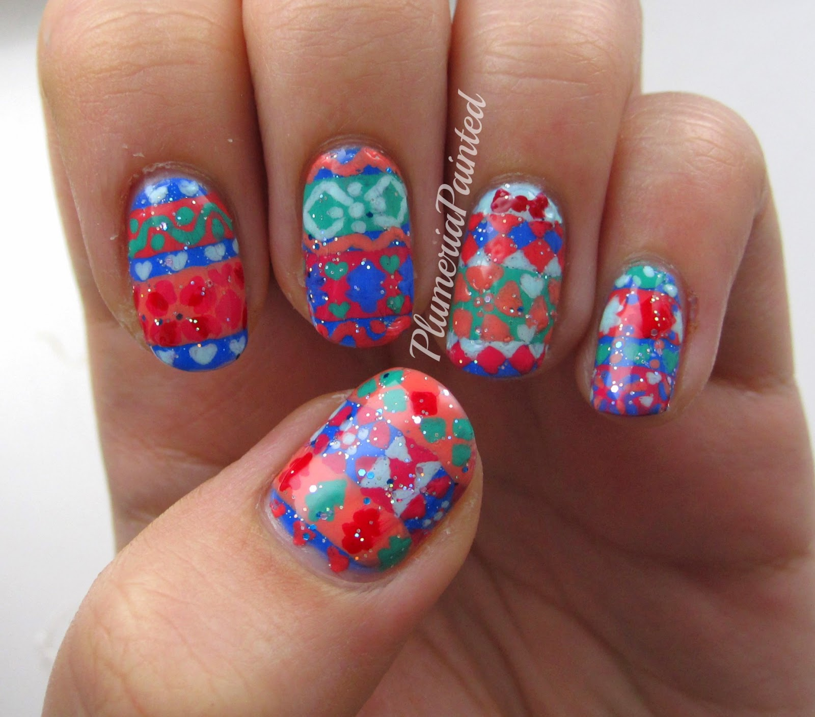 PlumeriaPainted: Bright Fair Isle Nail Art