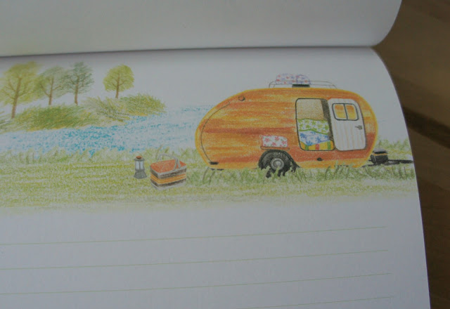 Letter paper with illustration of a caravan