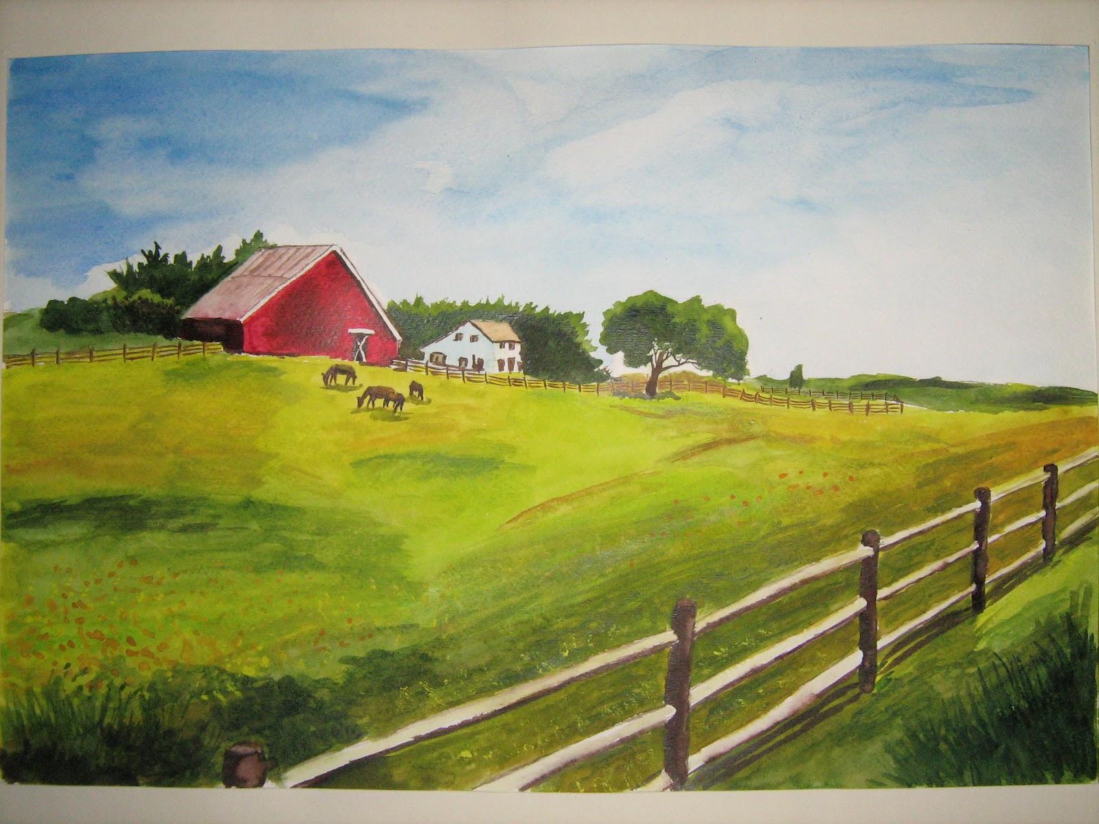 Рисунок сельский пейзаж 3
