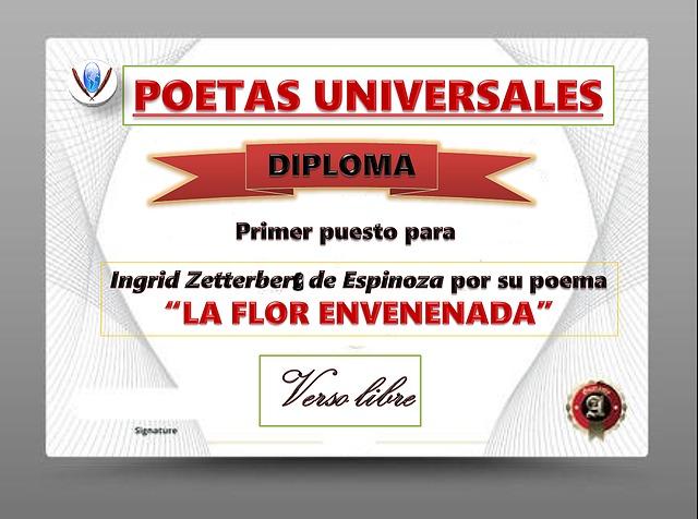 """Diploma de Primer puesto en """"Poetas Universales"""""""