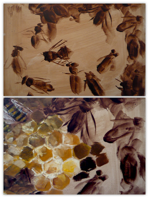 work-in-progress photos of bee painting