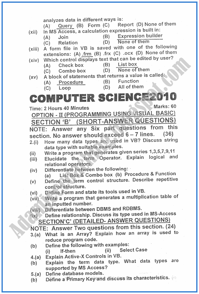 Computer-science-2010-past-year-paper-class-XII