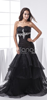 Noir satin et organza robe de bal sirène