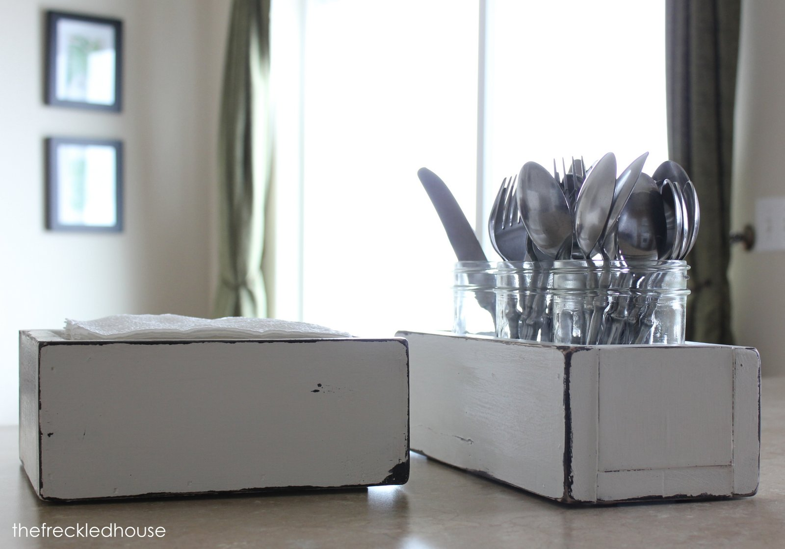 The Freckled House: Napkin Holder and Silverware Caddy