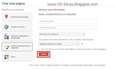 Como criar página no Google Plus para blog