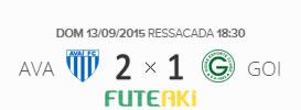 O placar de Avaí 2x1 Goiás pela 25ª rodada do Brasileirão 2015