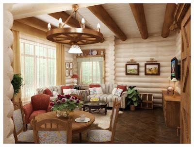 Дизайн интерьера бревенчатого дома. Гостиная, столовая, кухня.п.Сысерть