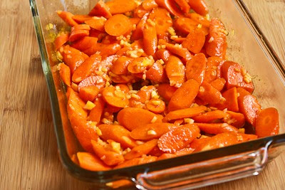 Roasted Red Curry Carrots with Ginger and Garlic (Christmas Carrots) found on KalynsKitchen.com