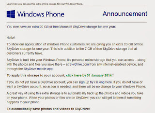 Additional 20GB Free Space for SkyDrive Users