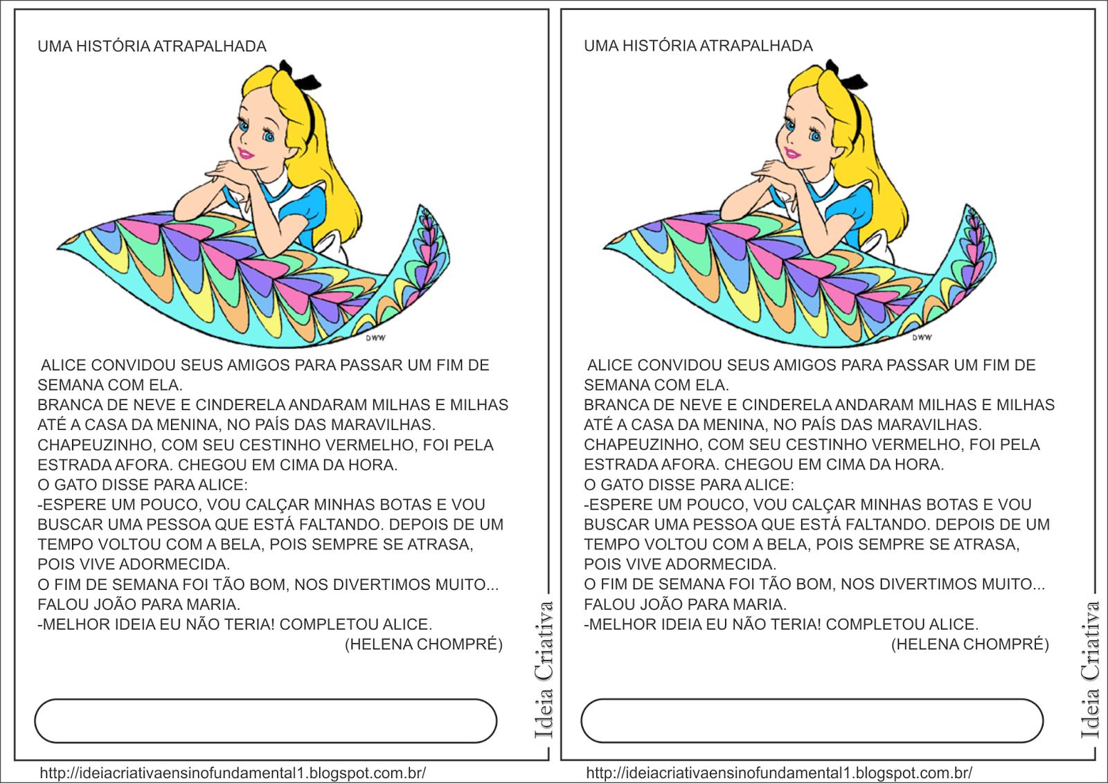 Ficha de Leitura Alice no País das Maravilhas