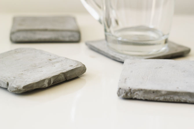 Diy cement coasters minimal crafts for How to make concrete coasters