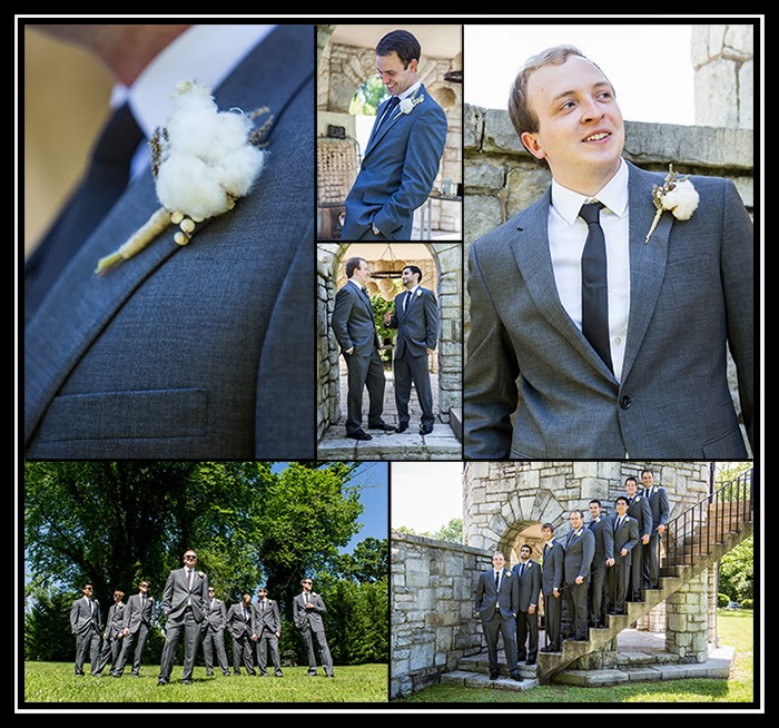 photograph of groomsmen and groom wearing dark grey suits and black ties