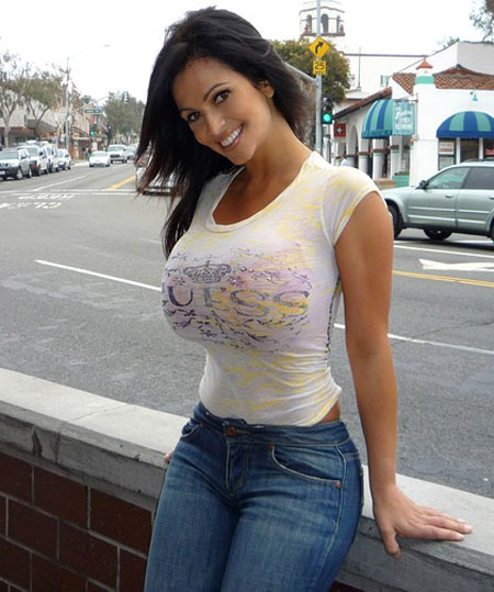 Denise Milani in a white t-shirt
