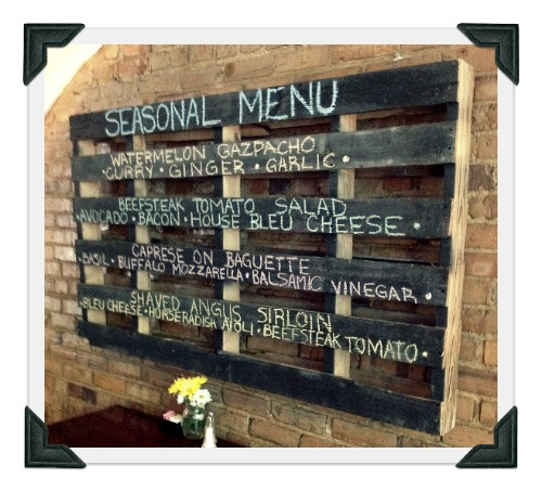 recycled upcycled palette chalkboard menu blue moon cafe