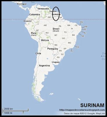 Ubicación de SURINAM en Sudamérica (Google Maps)
