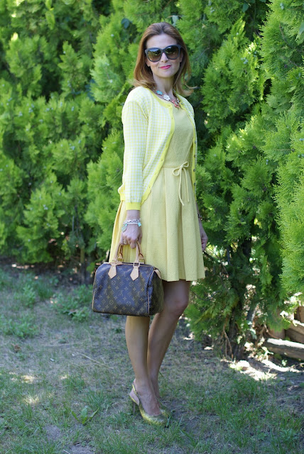 yellow bon ton dress, LV Speedy 25, Gaia d'Este shoes, Fashion and Cookies
