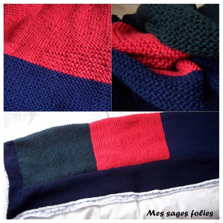 mes sages folies epaisse couverture tricolore en point mousse chunky 3colored garter stitch. Black Bedroom Furniture Sets. Home Design Ideas