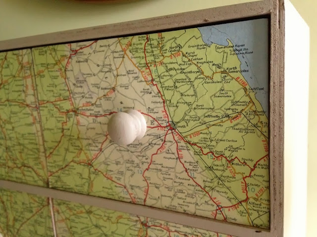 ikea moppe chest hack decorated with vintage map