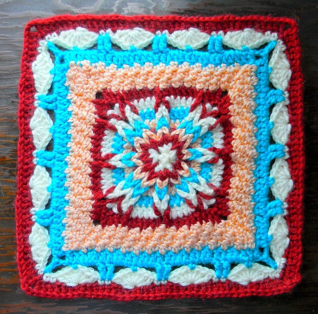 Outside-in crocheted granny square