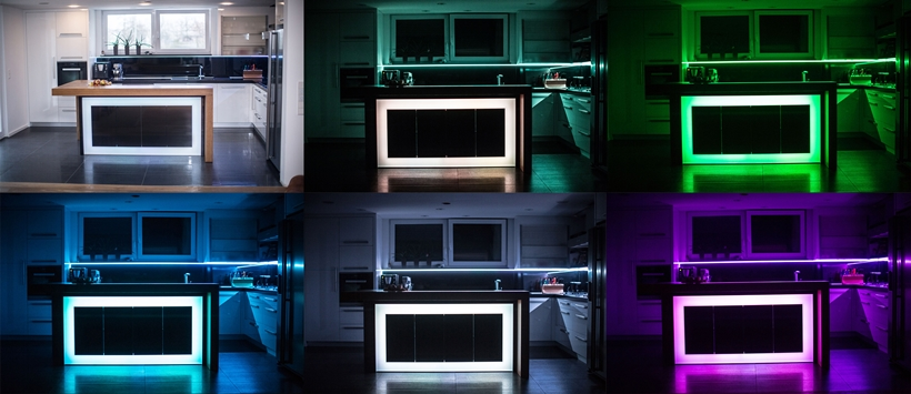 Kitchen island with different LED light colors