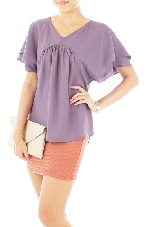 Flutter Cape Blouse in Lavender