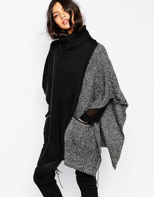 black grey roll neck poncho, roll neck poncho, roll neck cape,