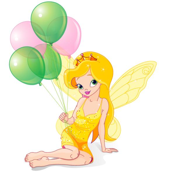 Hada infantil dorada con globos