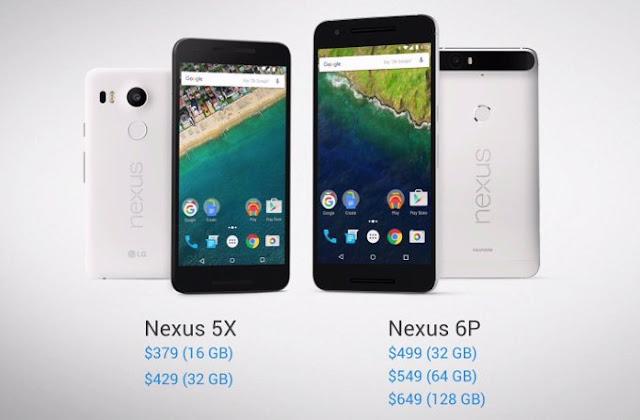 price nexus 5x and nexus 6p